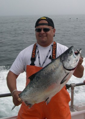Jesse Lara with his 2nd place 22 lb. salmon caught on opening day, April 3, 2004
