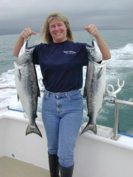 Baja Bev Seltzer proudly displays the limit she bagged on Monday, April 11