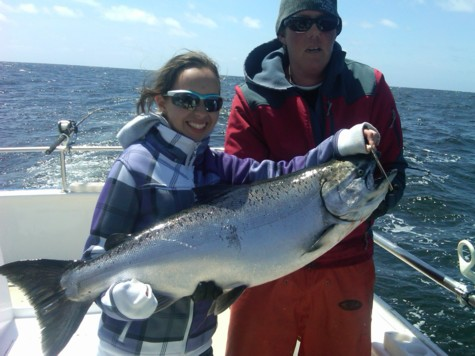 13 year old Haley from Cupertino, California with her beautiful 26 pound salmon she landed on Thursday, April 21, 2011